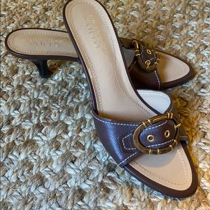 NWOT- Franco Sarto Slide Sandals in Brown